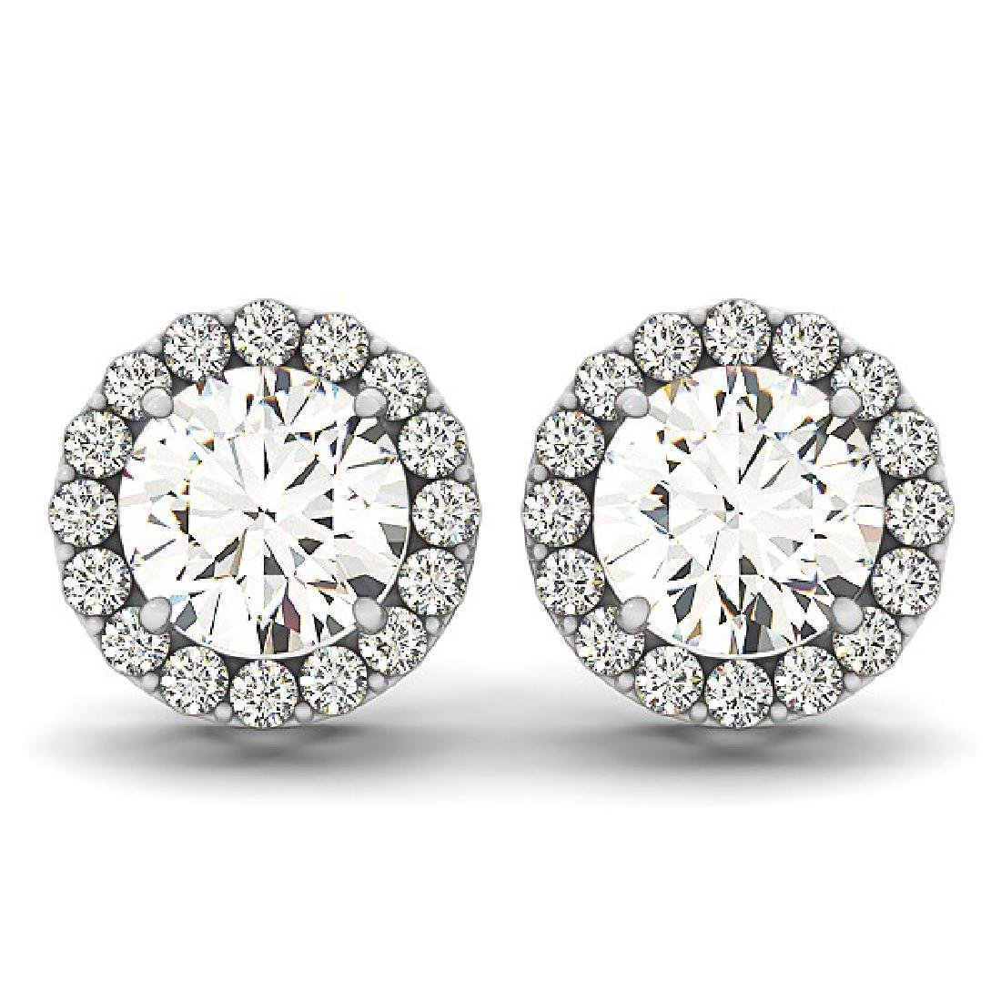 1.95 CTW Diamond Solitaire VS/SI Certified Halo 14K - 2