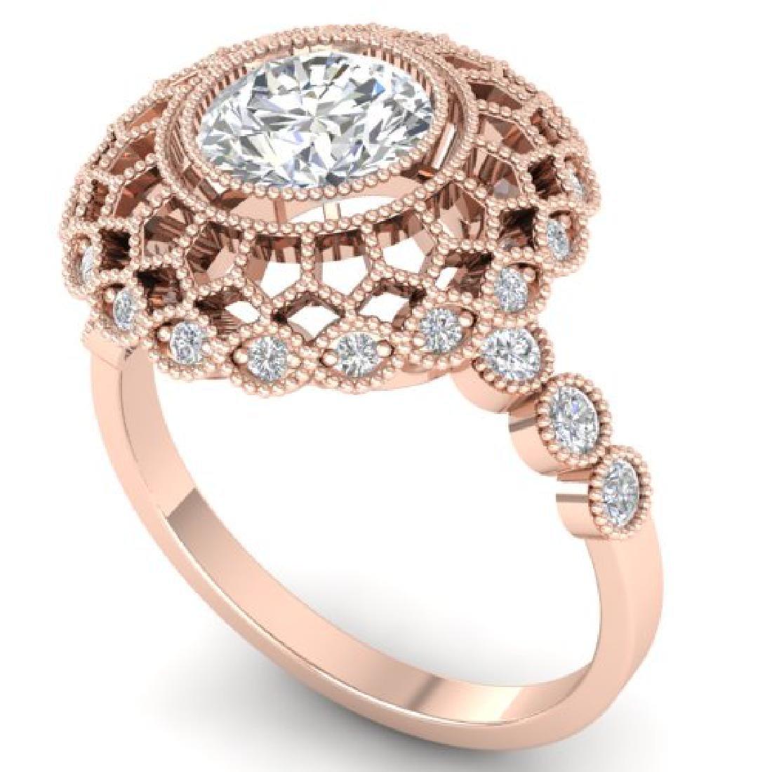 1.5 CTW Certified VS/SI Diamond Art Deco Ring 18K Rose - 2