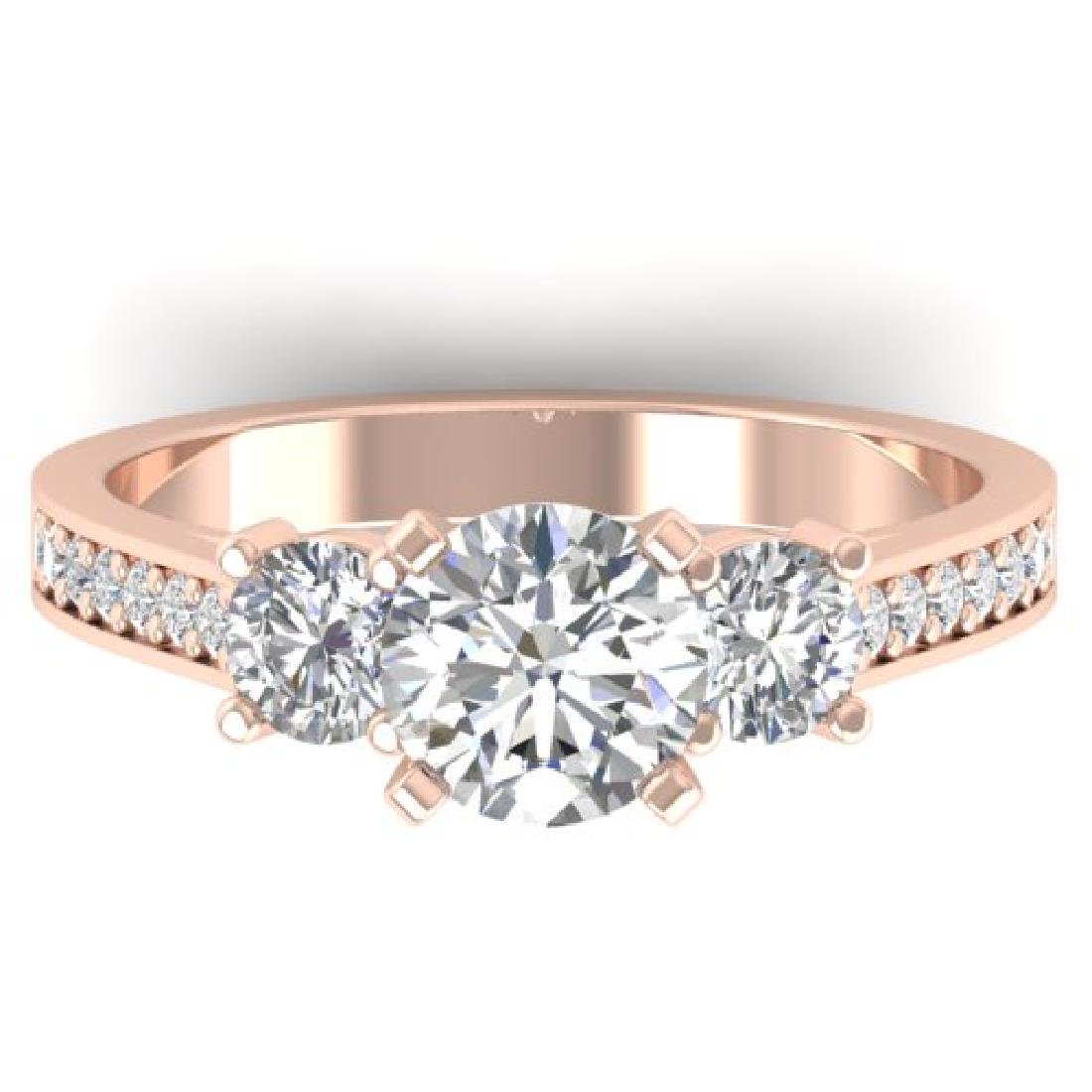 1.75 CTW Certified VS/SI Diamond 3 Stone Ring 18K Rose