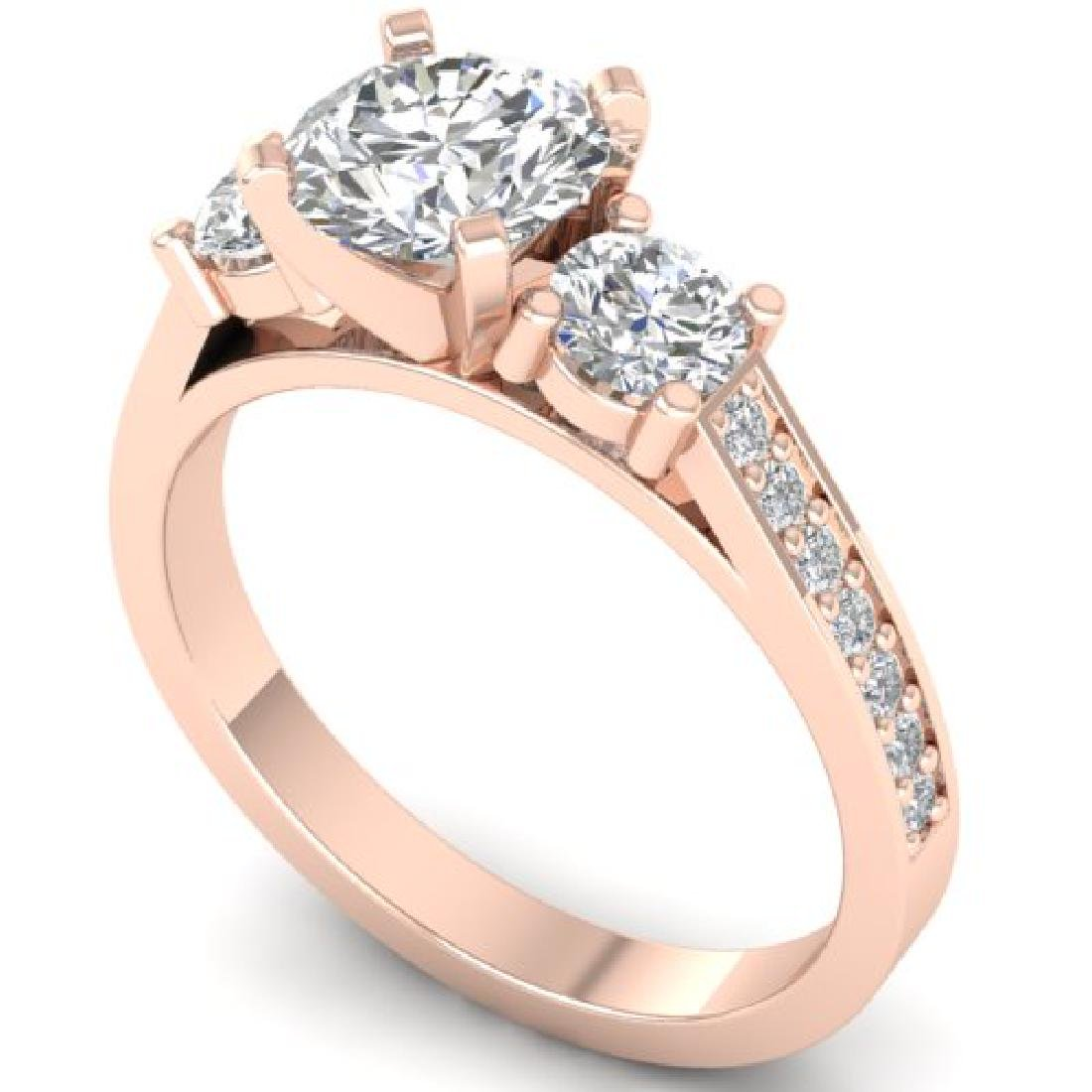 1.75 CTW Certified VS/SI Diamond 3 Stone Ring 18K Rose - 2