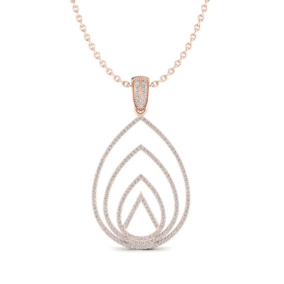 1.25 CTW Micro Pave VS/SI Diamond Designer Necklace 14K - 2