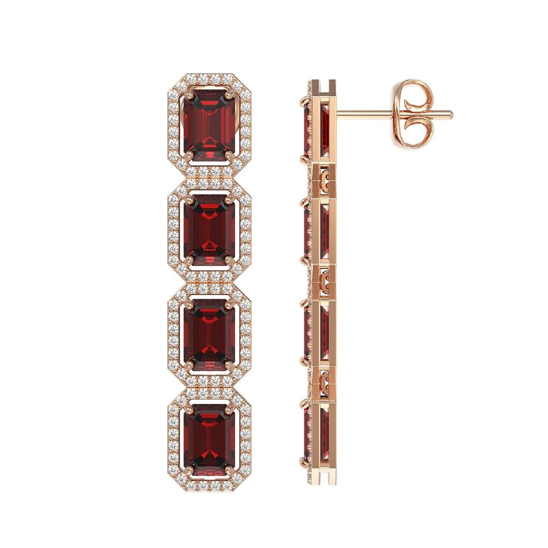 12.73 CTW Garnet & Diamond Halo Earrings 10K Rose Gold - 2