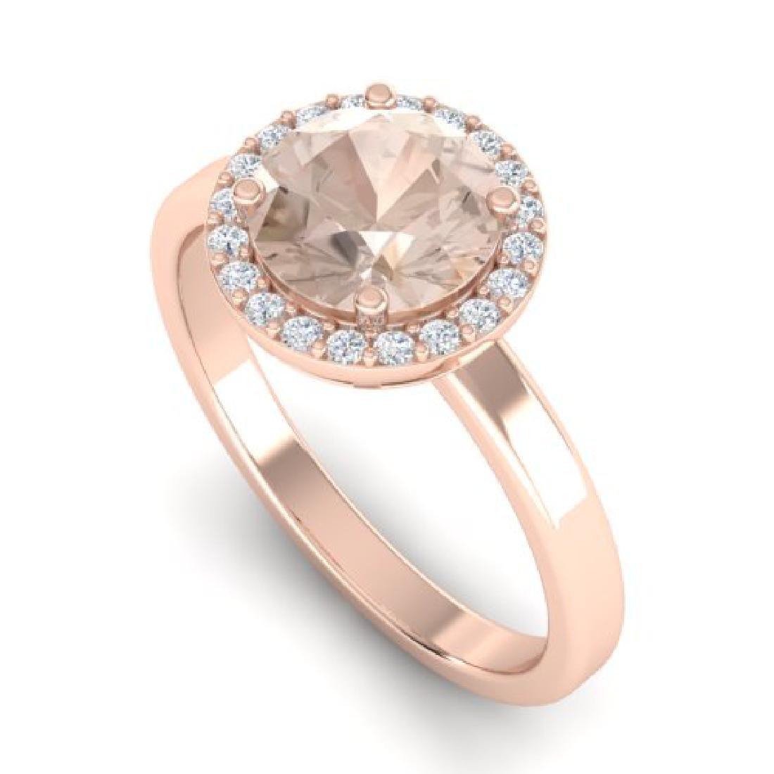 1.50 CTW Morganite & Halo VS/SI Diamond Micro Ring 14K - 2