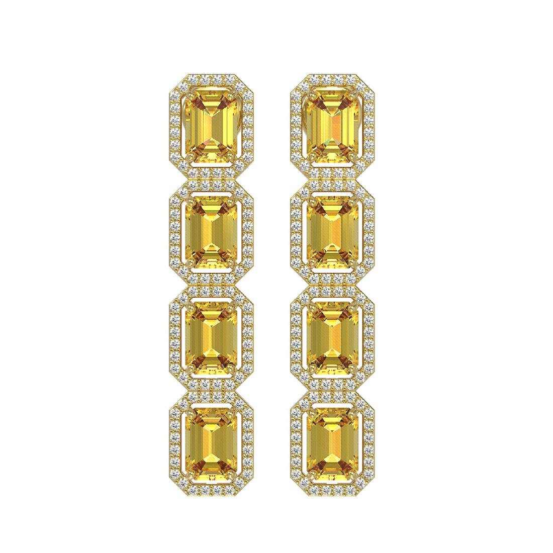 11.18 CTW Fancy Citrine & Diamond Halo Earrings 10K