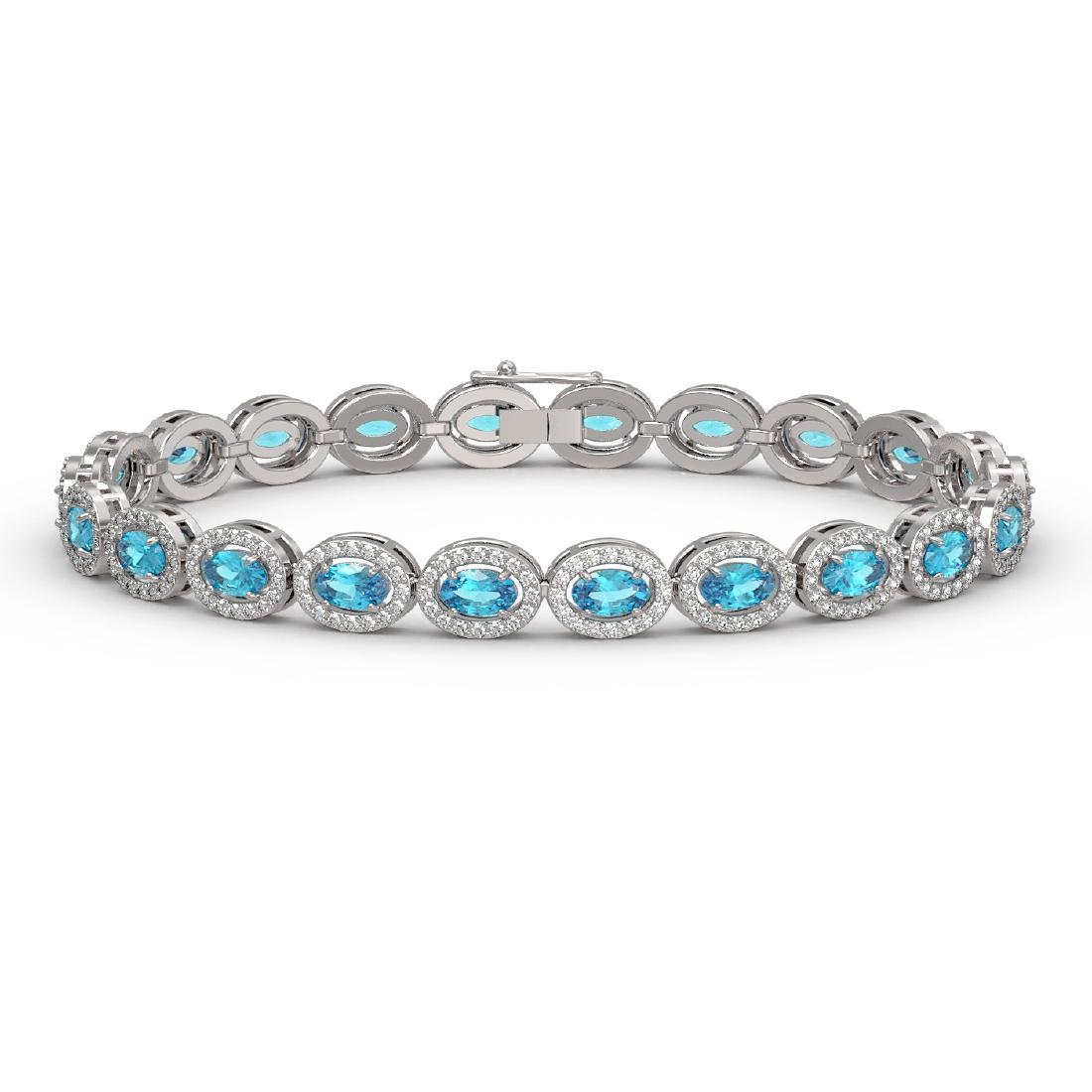 10.76 CTW Swiss Topaz & Diamond Halo Bracelet 10K White