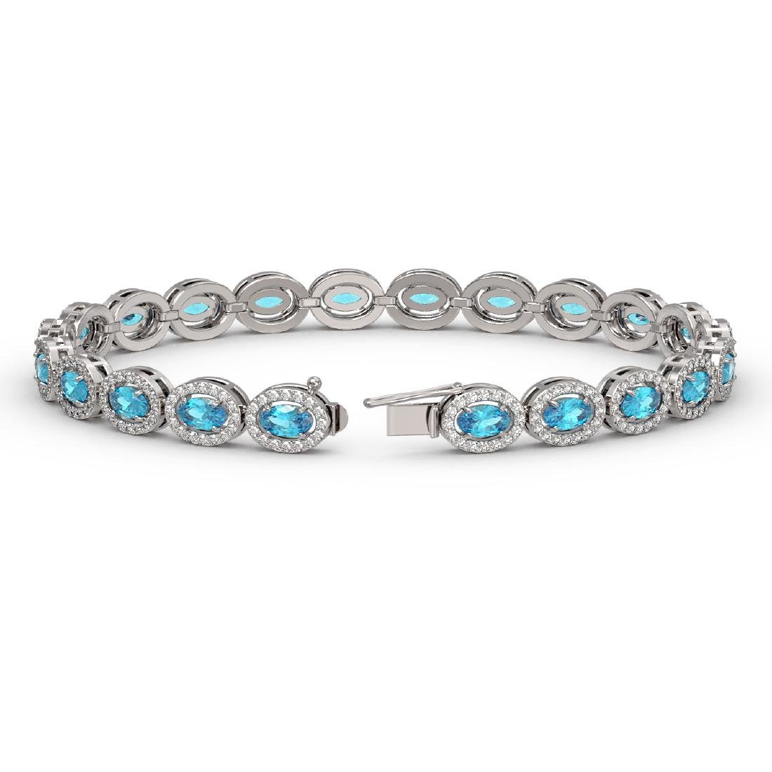 10.76 CTW Swiss Topaz & Diamond Halo Bracelet 10K White - 2