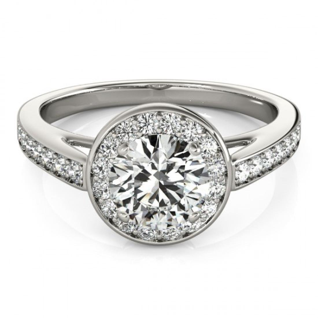 1.45 CTW Certified VS/SI Diamond Solitaire Halo Ring