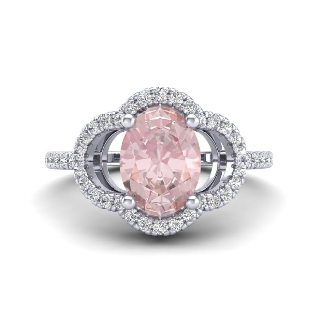 1.75 CTW Morganite & Micro Pave VS/SI Diamond Ring 10K