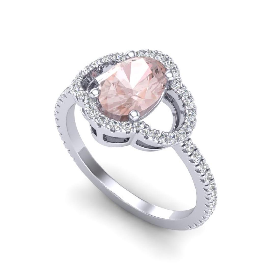 1.75 CTW Morganite & Micro Pave VS/SI Diamond Ring 10K - 2