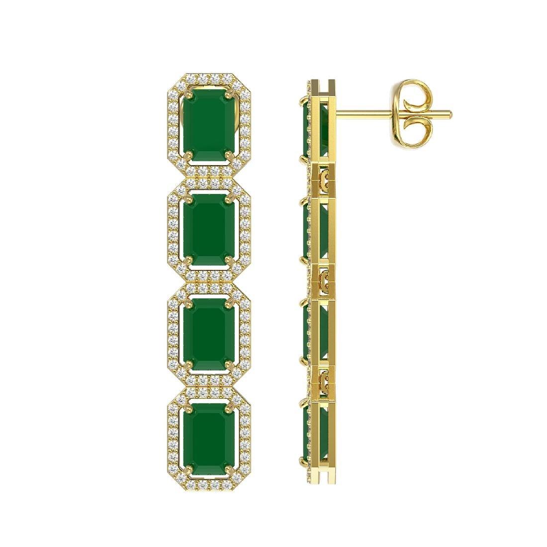 12.33 CTW Emerald & Diamond Halo Earrings 10K Yellow - 2