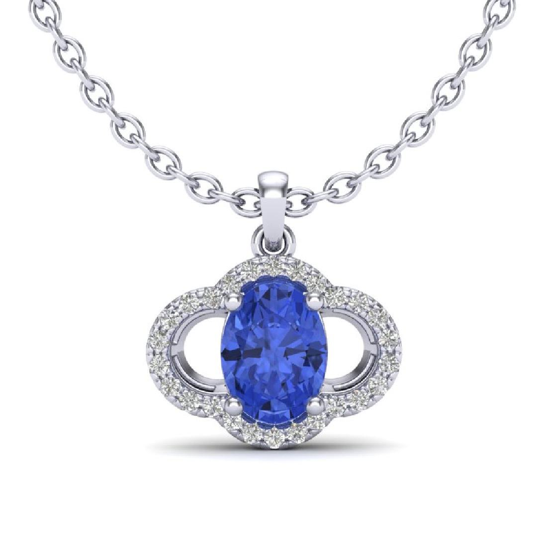 1.75 CTW Tanzanite & Micro Pave VS/SI Diamond Necklace