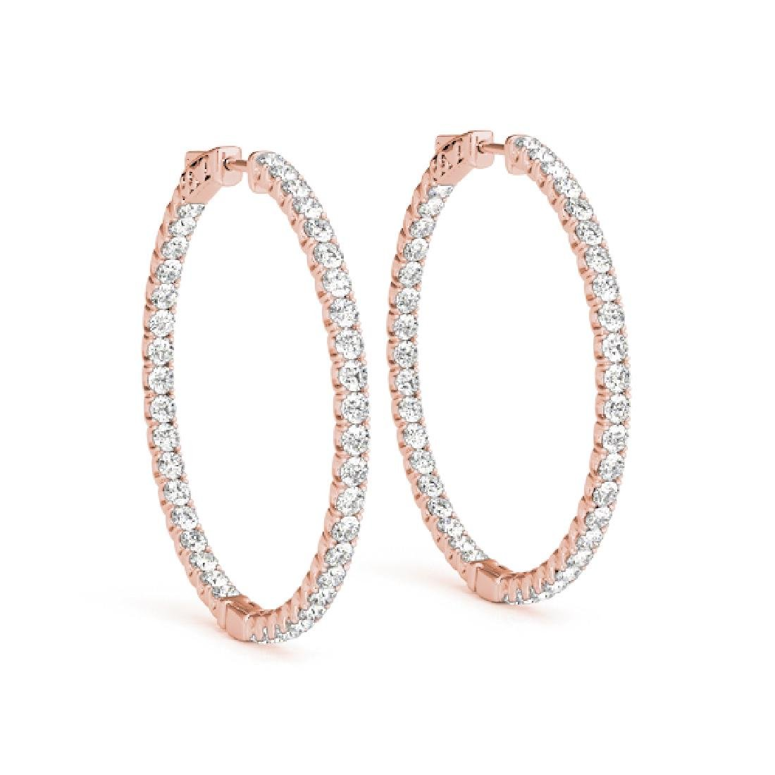 1.5 CTW Diamond VS/SI Certified 24 Mm Hoop Earrings 14K - 2