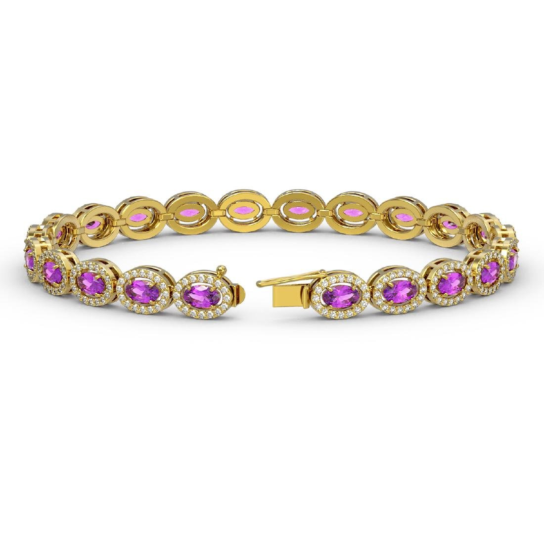 10.05 CTW Amethyst & Diamond Halo Bracelet 10K Yellow - 2