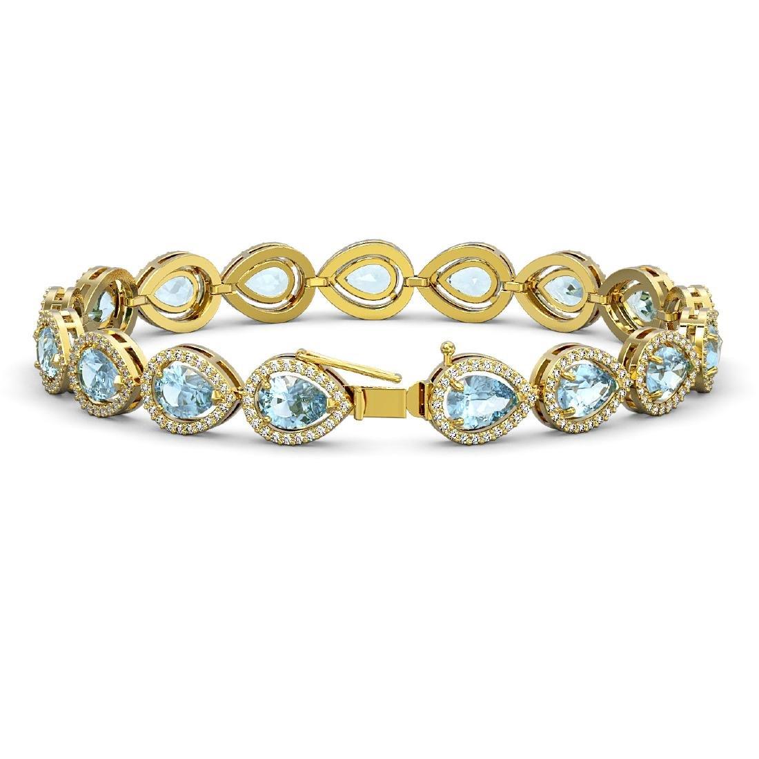 16.59 CTW Sky Topaz & Diamond Halo Bracelet 10K Yellow - 2
