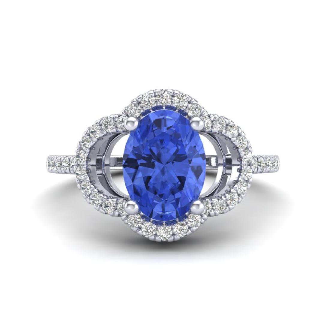 1.75 CTW Tanzanite & Micro Pave VS/SI Diamond Ring 10K