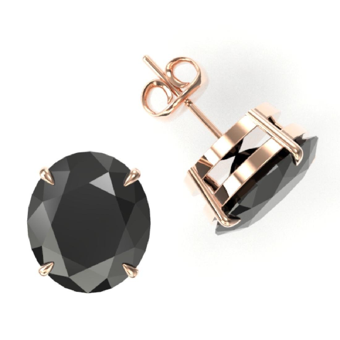 18 CTW Black VS/SI Diamond Designer Stud Earrings 14K - 2