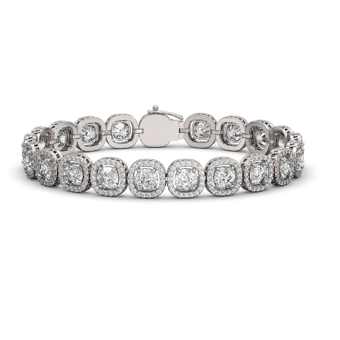14.41 CTW Cushion Diamond Designer Bracelet 18K White