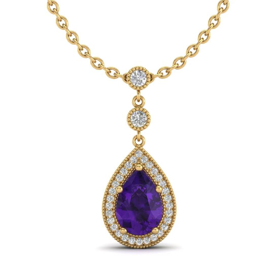 2.25 CTW Amethyst & Micro Pave VS/SI Diamond Necklace - 2