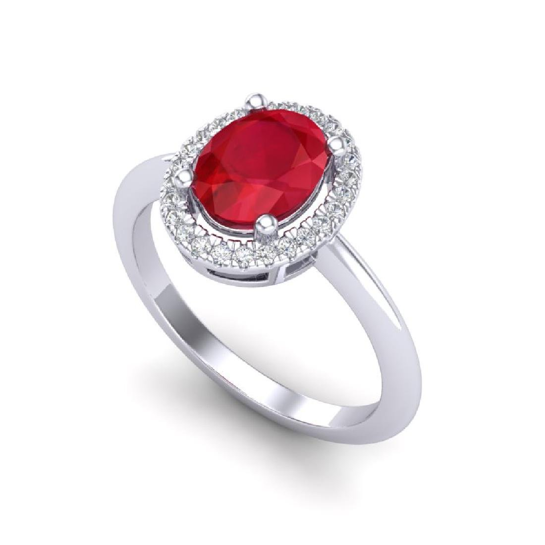 2 CTW Ruby & Micro Pave VS/SI Diamond Ring Solitaire - 2