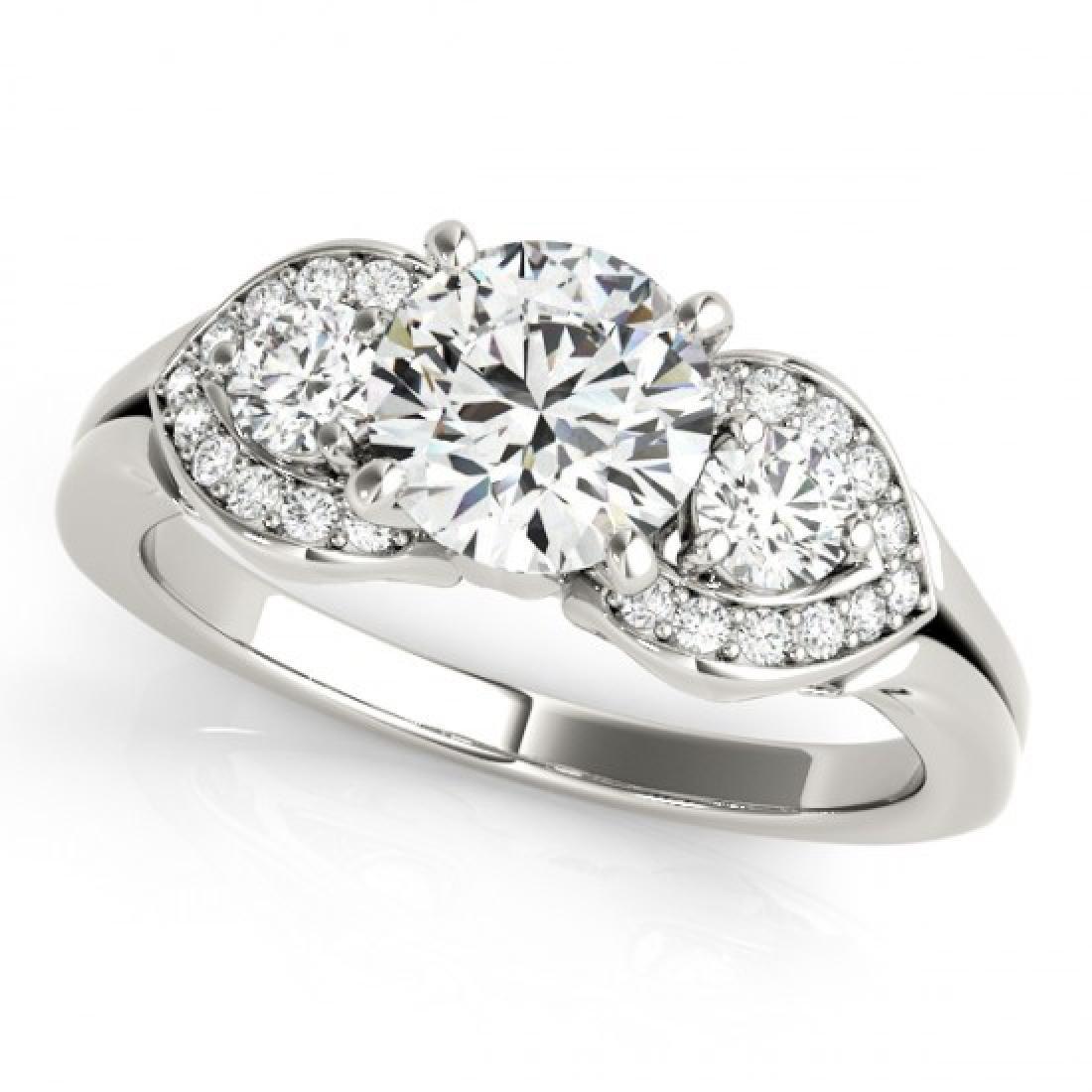 1.45 CTW Certified VS/SI Diamond 3 Stone Ring 14K White