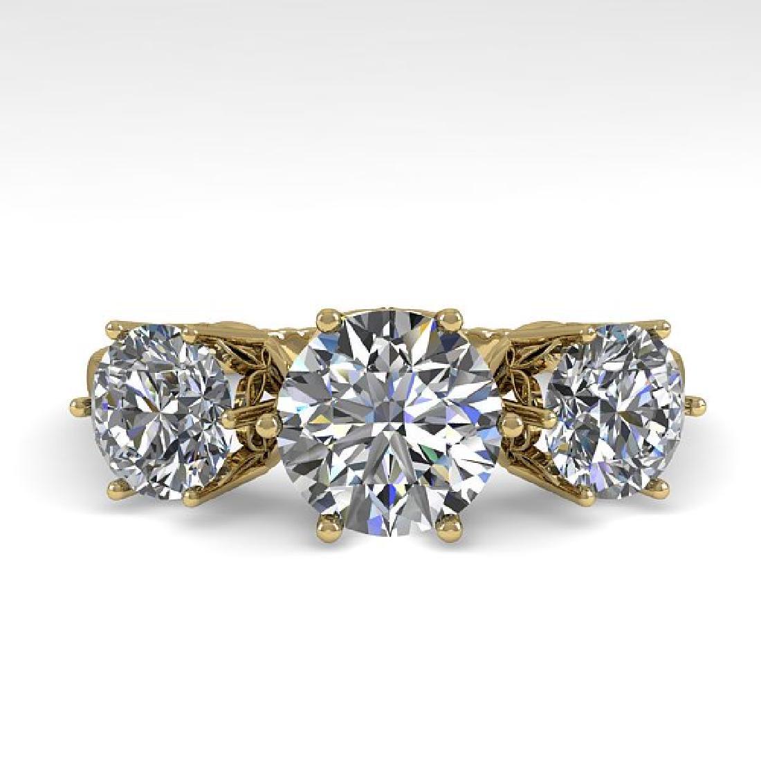 2 CTW Certified VS/SI Diamond Art Deco Ring 14K Yellow