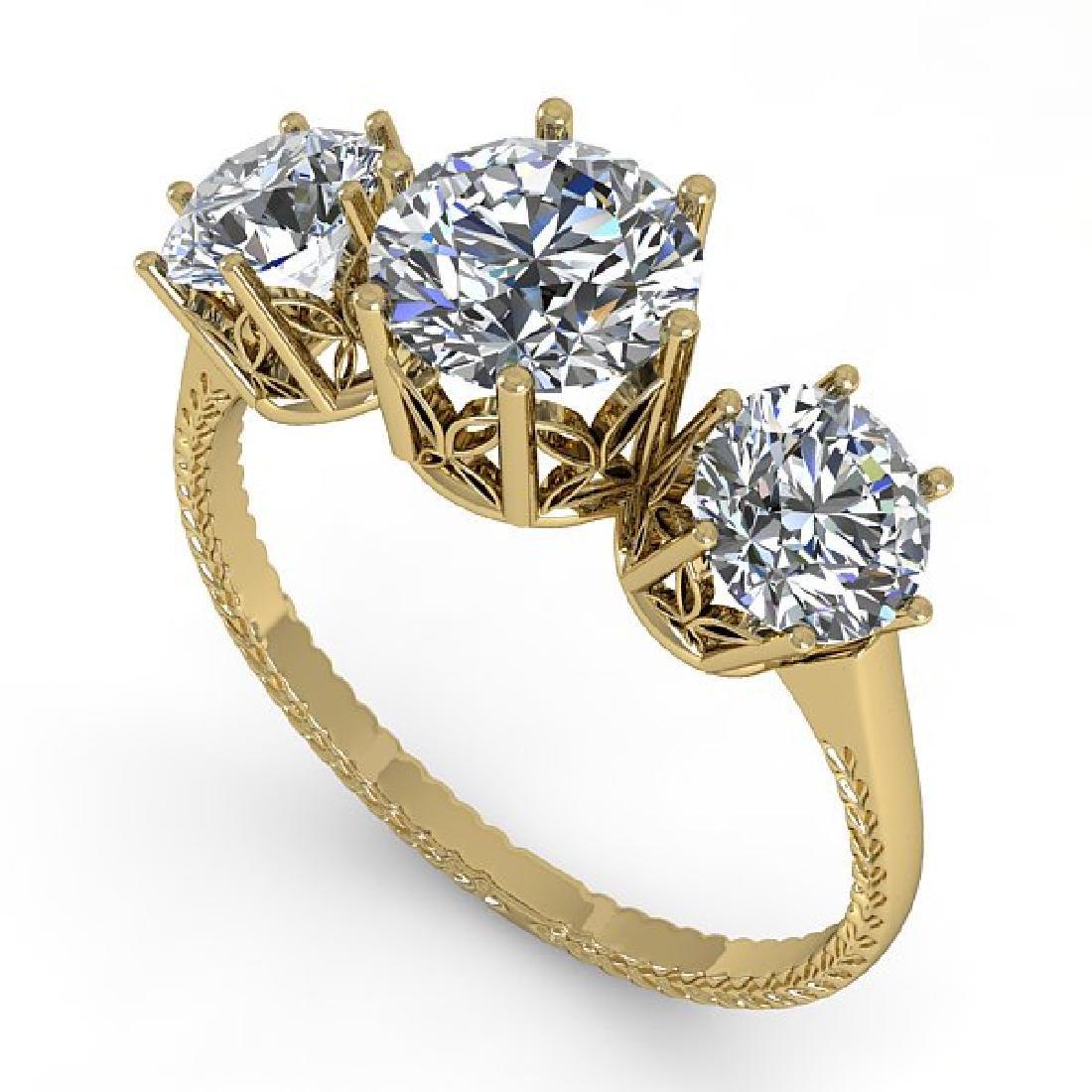 2 CTW Certified VS/SI Diamond Art Deco Ring 14K Yellow - 2