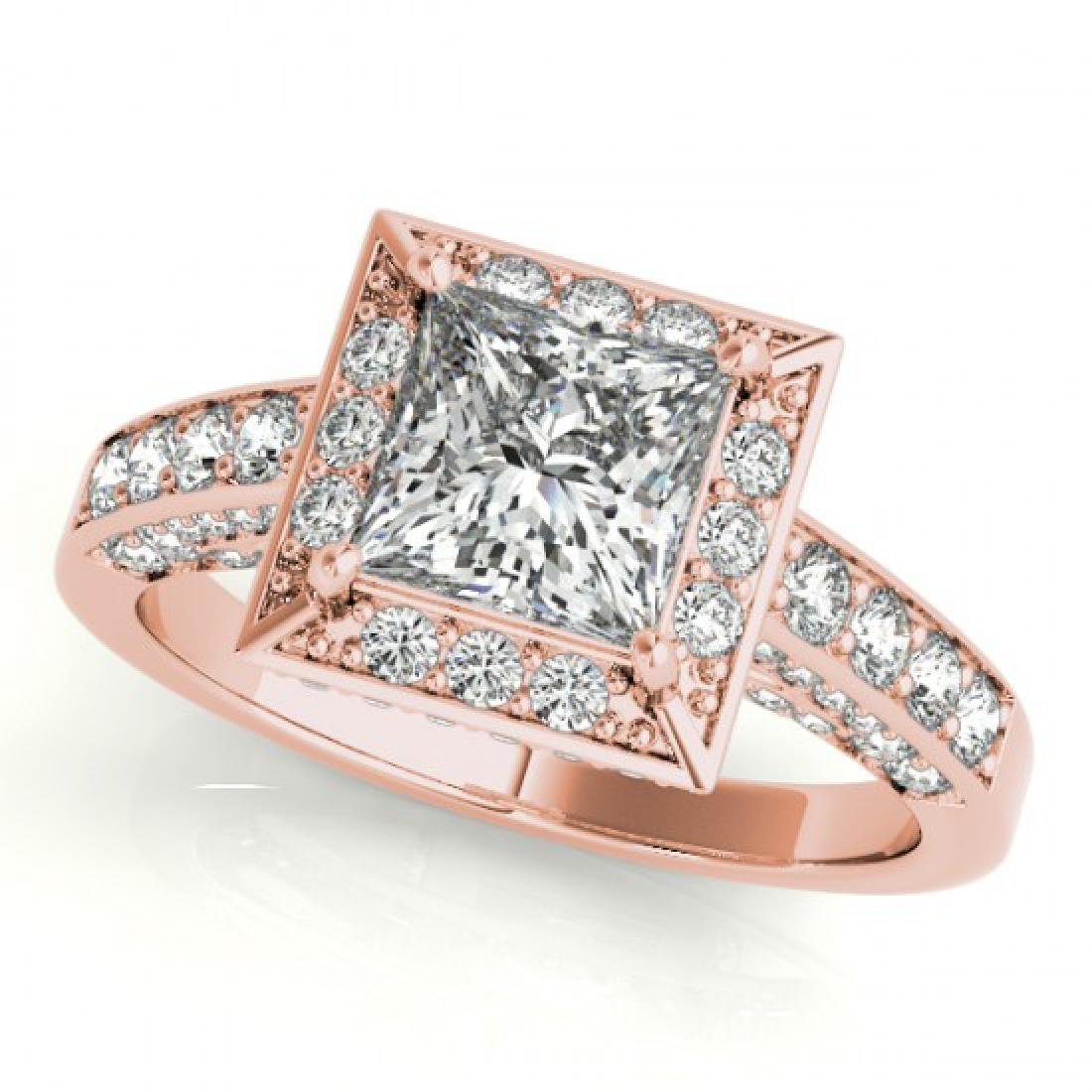 2.1 CTW Certified VS/SI Princess Diamond Solitaire Halo - 2