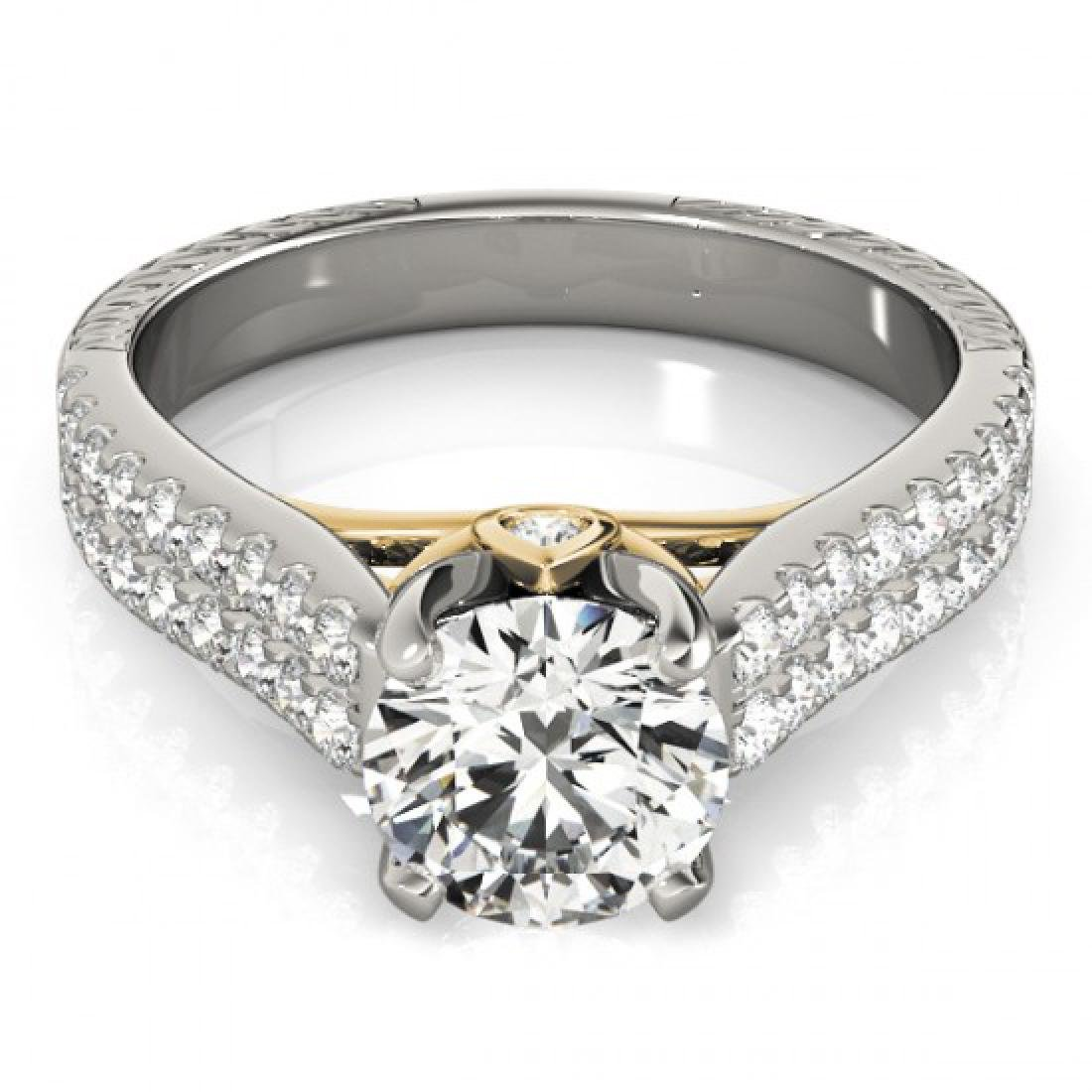 1.36 CTW Certified VS/SI Diamond Pave Ring 14K White &