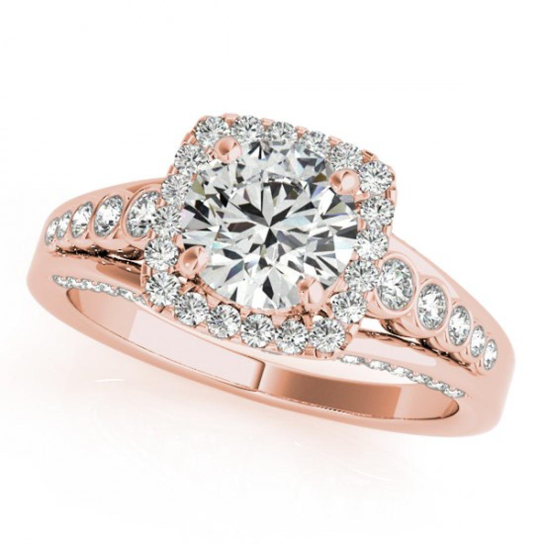2 CTW Certified VS/SI Diamond Solitaire Halo Ring 14K - 2