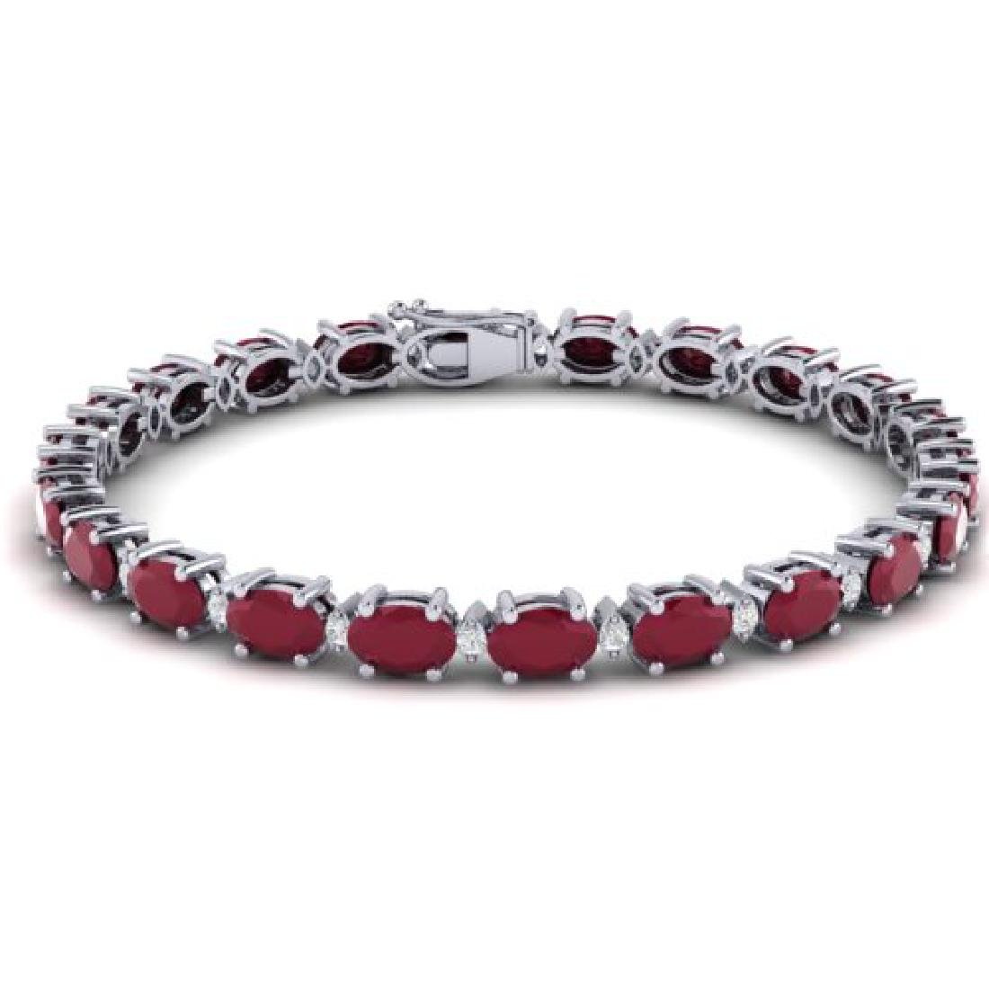 15 CTW Ruby & VS/SI Diamond Eternity Bracelet 10K White - 2