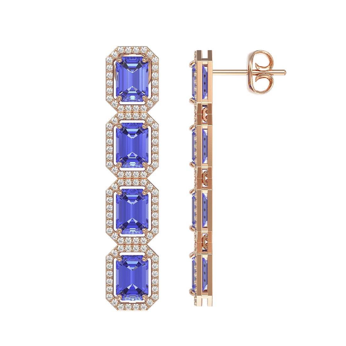 11.93 CTW Tanzanite & Diamond Halo Earrings 10K Rose - 2