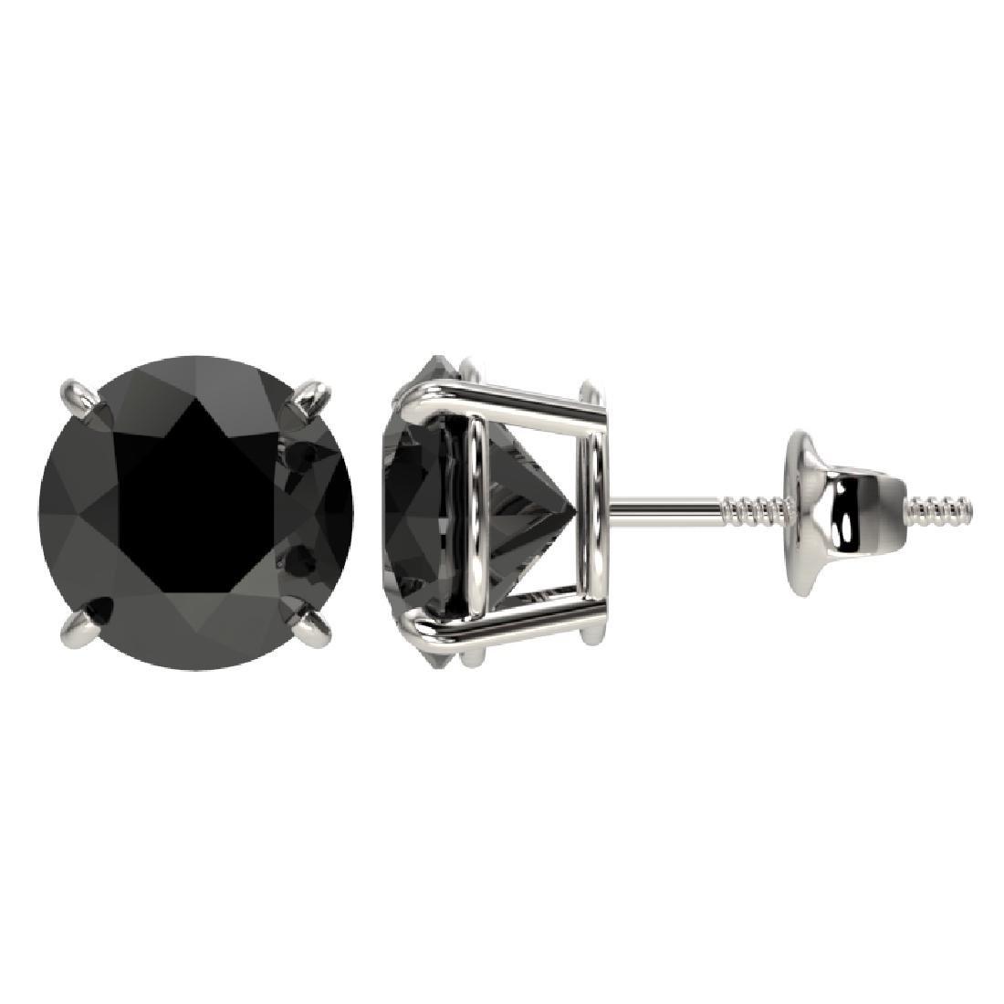 3.18 CTW Fancy Black VS Diamond Solitaire Stud Earrings - 2