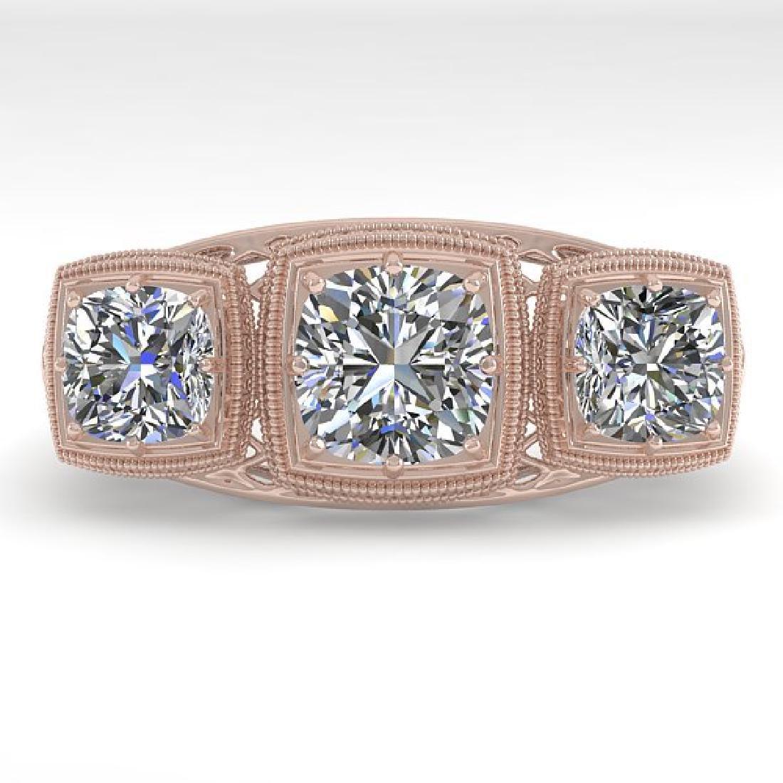 2 CTW VS/SI Cushion Cut Diamond Ring Art Deco 14K Rose