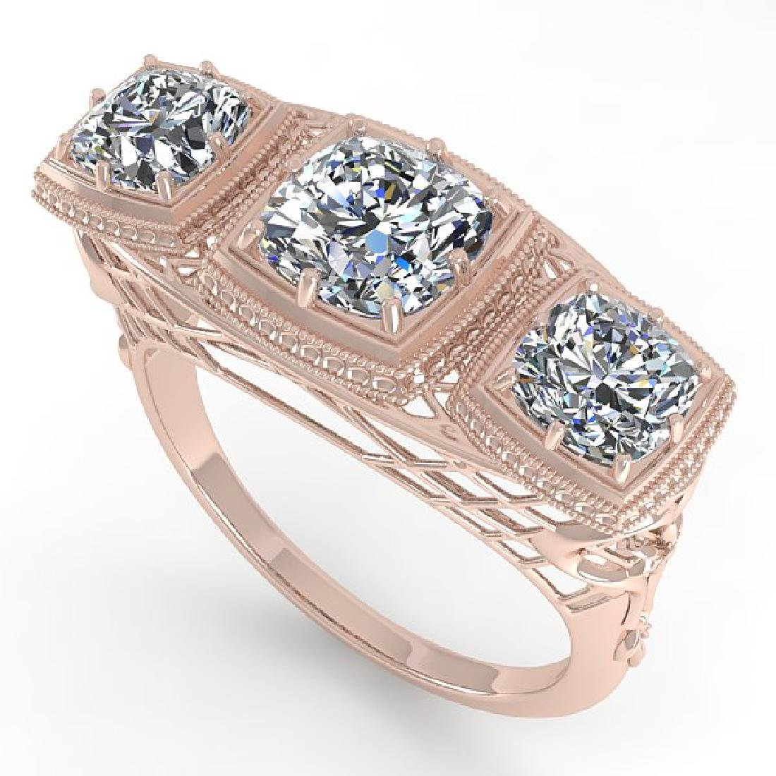 2 CTW VS/SI Cushion Cut Diamond Ring Art Deco 14K Rose - 2