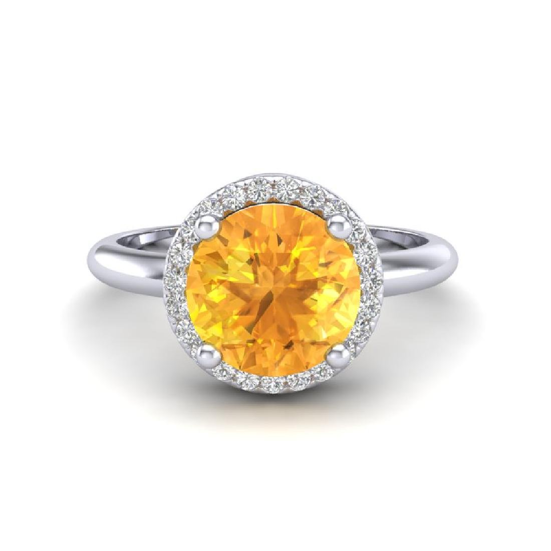 2 CTW Citrine & Micro VS/SI Diamond Ring Designer Halo