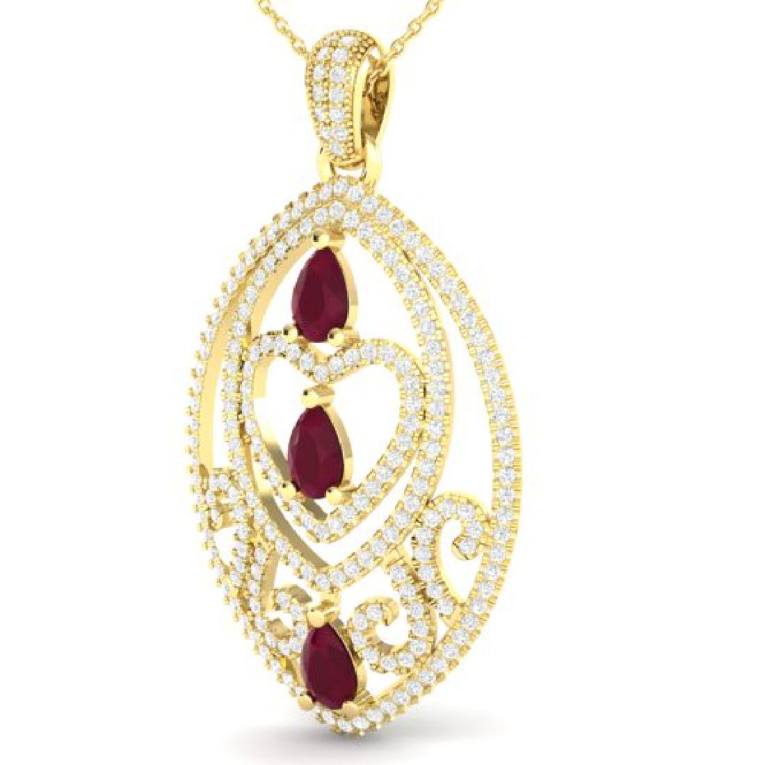 3.50 CTW Ruby & Micro Pave VS/SI Diamond Heart Necklace - 2