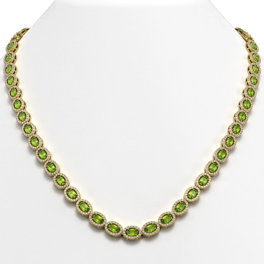 23.86 CTW Peridot & Diamond Halo Necklace 10K Yellow