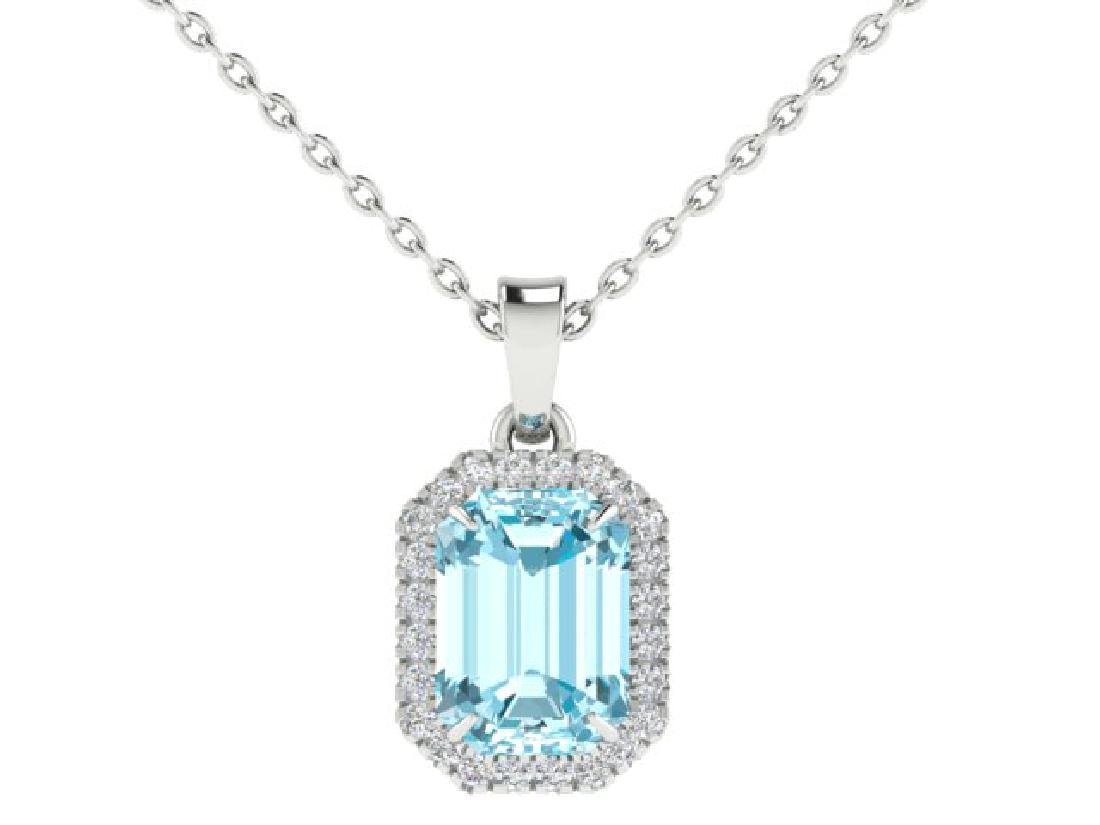 6 CTW Sky Blue Topaz And Micro Pave VS/SI Diamond Halo - 2