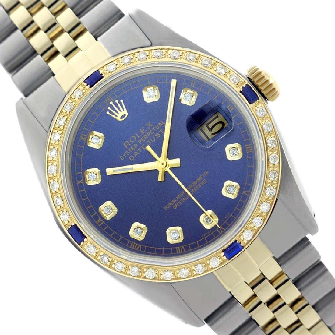 Rolex Ladies Two Tone, Diam Dial & Diam/Sapphire Bezel,