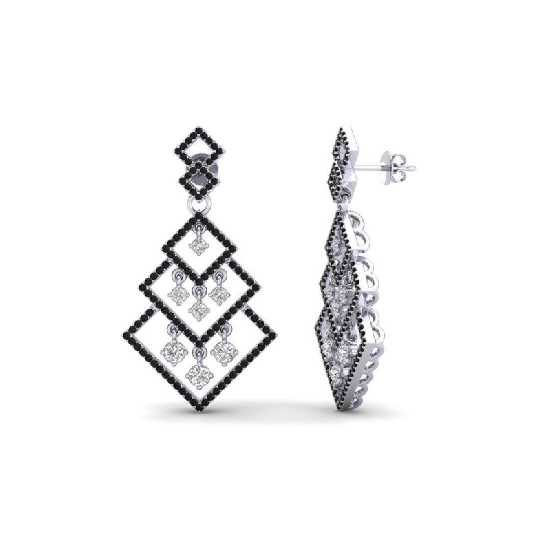 3 CTW Micro Pave Black & White VS/SI Diamond Earrings - 2