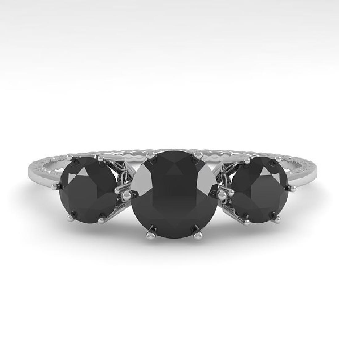1 CTW Black Certified Diamond Art Deco Ring 14K White