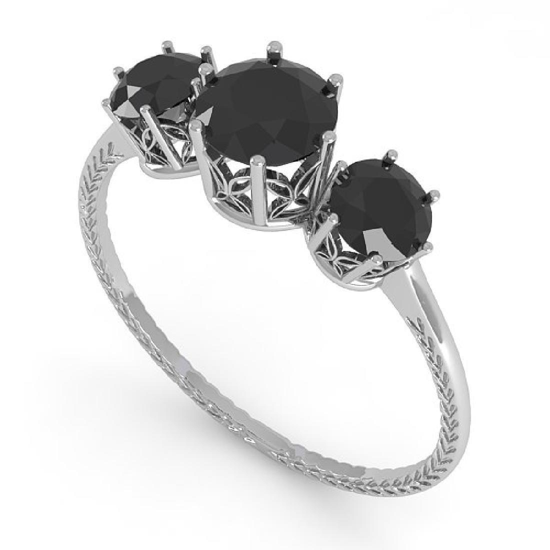 1 CTW Black Certified Diamond Art Deco Ring 14K White - 2