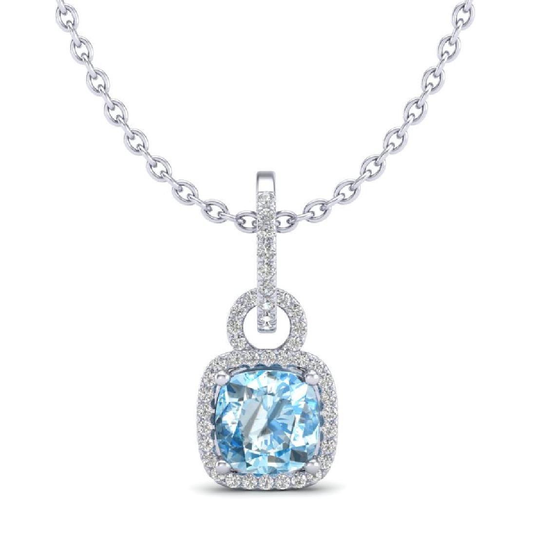 3.50 CTW Topaz & Micro VS/SI Diamond Necklace 18K White - 2