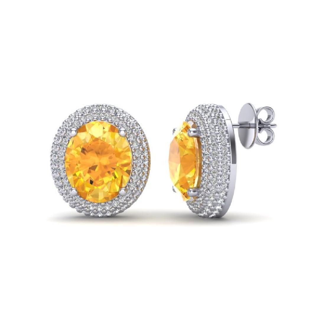 8 CTW Citrine & Micro Pave VS/SI Diamond Earrings 18K - 2