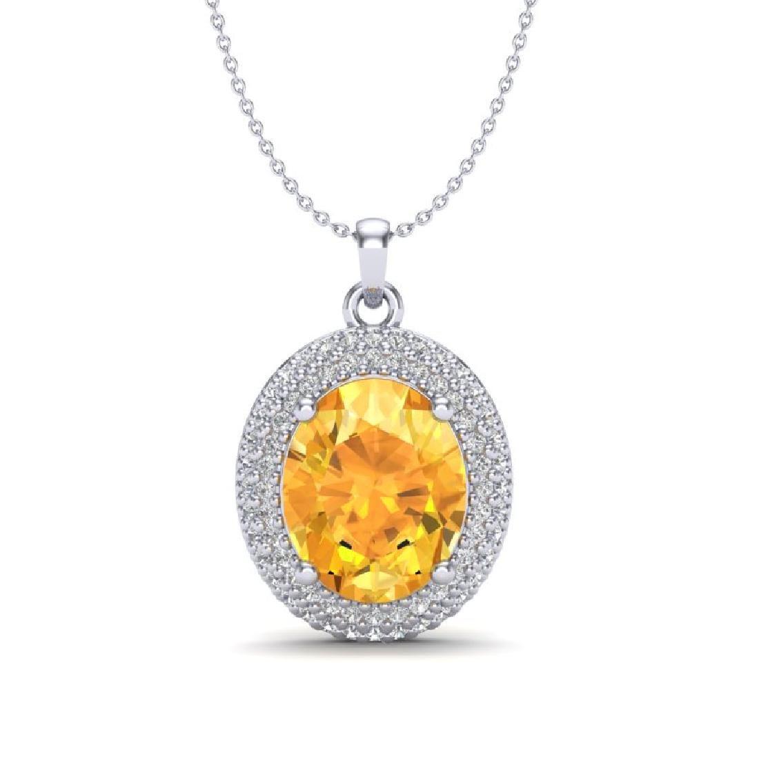 4 CTW Citrine & Micro Pave VS/SI Diamond Necklace 18K