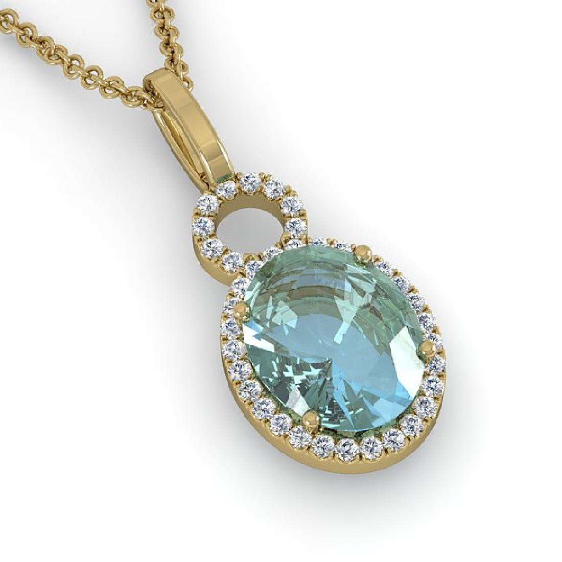 4 CTW Sky Blue Topaz & Pave Halo VS/SI Diamond Necklace