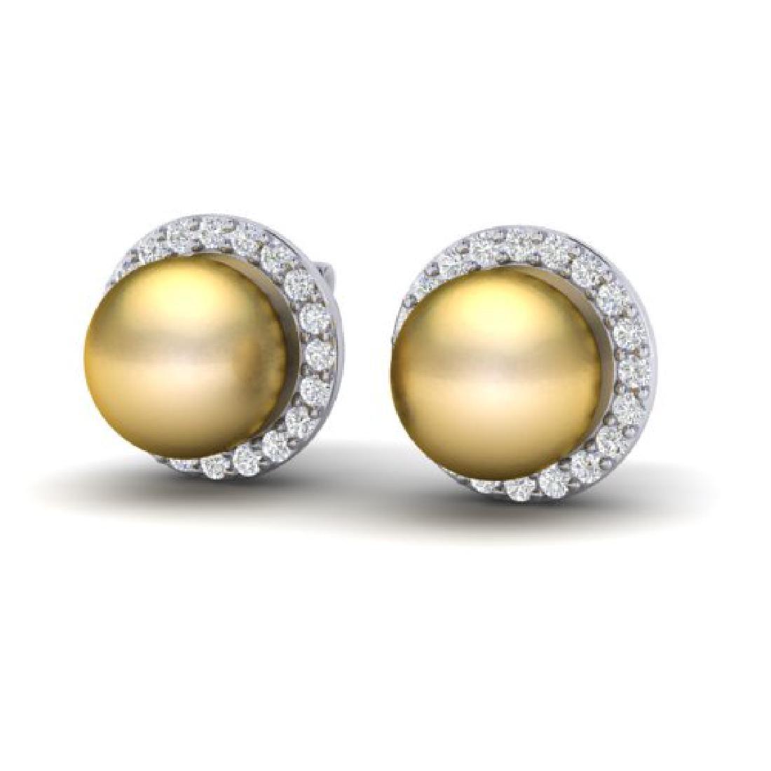 0.50 CTW Micro Pave Halo VS/SI Diamond & Golden Pearl