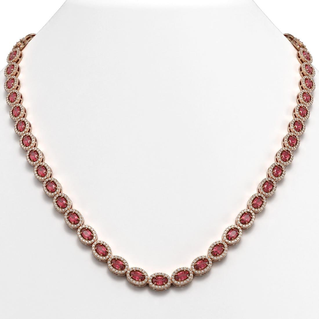 23.57 CTW Tourmaline & Diamond Halo Necklace 10K Rose
