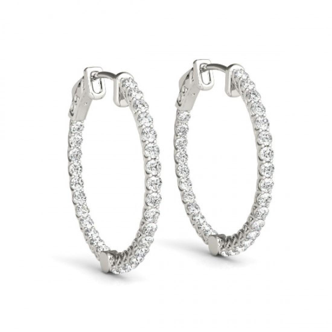 5 CTW Diamond VS/SI Certified 37 Mm Hoop Earrings 14K - 2