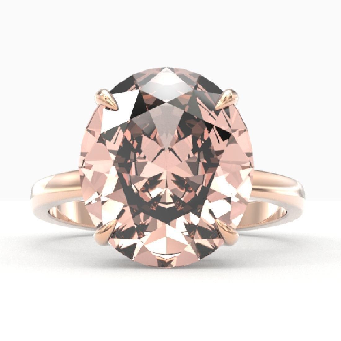 9 CTW Morganite Designer Solitaire Engagement Ring 14K